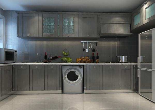 木纹跟地砖的搭配简洁,冷色调会给厨房降温。
