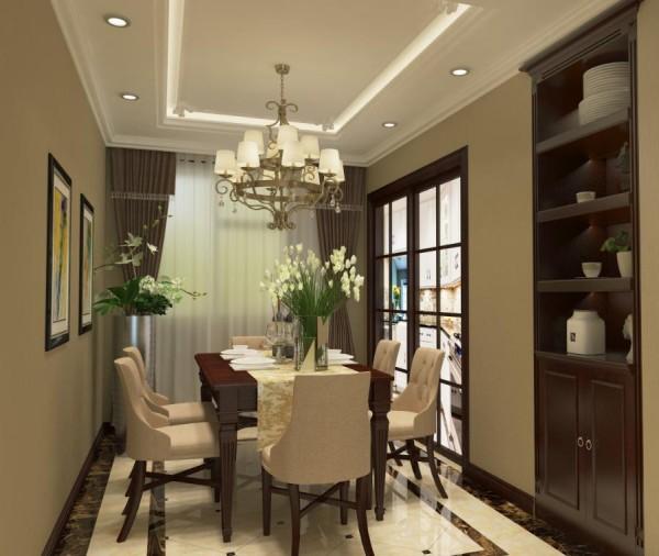 餐厅设计是整个家具设计的核心,在设计手法上和客厅呼应,地面采用构成一样但造型不同的拼花以及顶面不同石膏花线的选择。淡雅的色彩、柔和的光线、精美的餐具构成了安宁的就餐氛围。