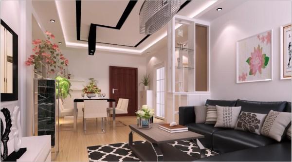 三居佳园装饰现代风格装修案例黑白灰客厅