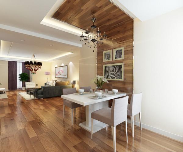 餐厅装修设计效果展示,餐厅一侧墙面和顶面用木地板装饰,简单的设计造型。舒适、大方。