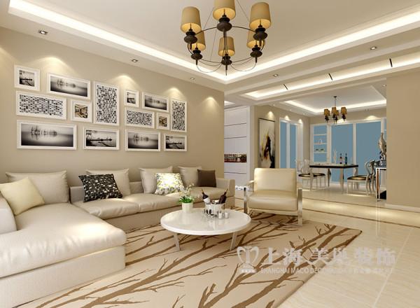 商丘缤纷广场现代风格装修166平四室两厅案例样板间——沙发布局