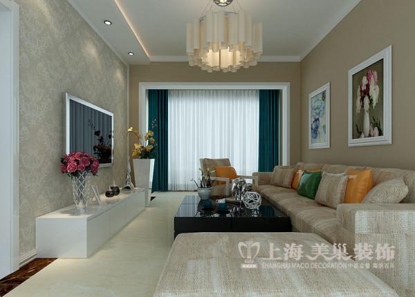 上海都市花园81平装修现代三居室效果图设计方案——客厅全景效果图