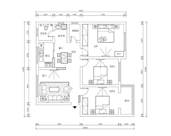 医专家属院装修案例三室两厅120平户型案例鉴赏——平面户型布局方案图