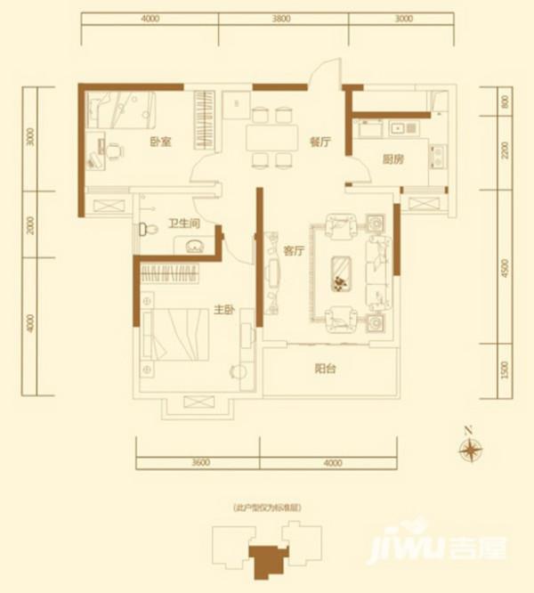 洛阳名仕嘉园装修案例两室两厅100平户型案例——平面布局方案图