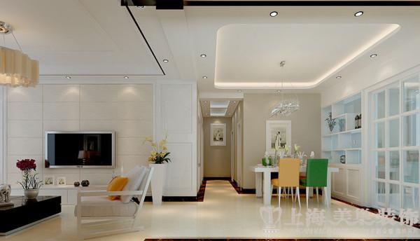 上东一品127平装修现代三房案例效果图——客餐厅全景效果图
