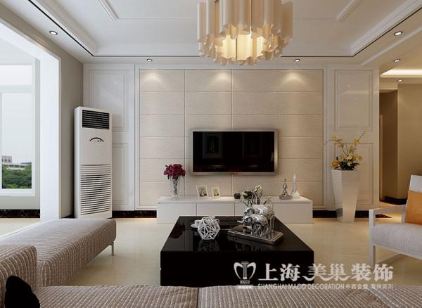 上东一品127平三室两厅装修现代简约案例效果图——电视墙布局