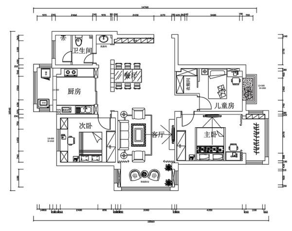 华夏明珠装修案例三室两厅户型125平案例——平面户型布局图