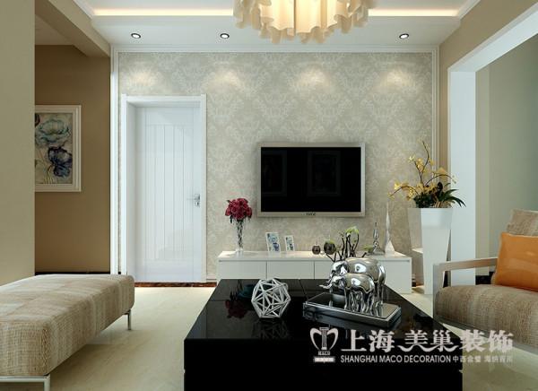 上海都市花园81平三室两厅装修现代效果图——电视墙设计
