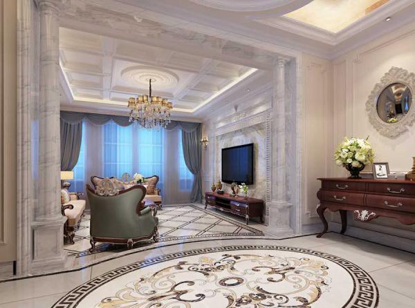 客厅与餐厅过道欧式大理石造型设计,光滑洁净的大理石罗马柱亭亭玉立,给人大气、奢华的感觉。