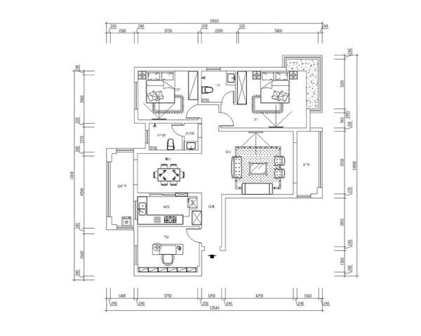 东方银座装修案例三室两厅户型140平居室布局——平面户型布局图