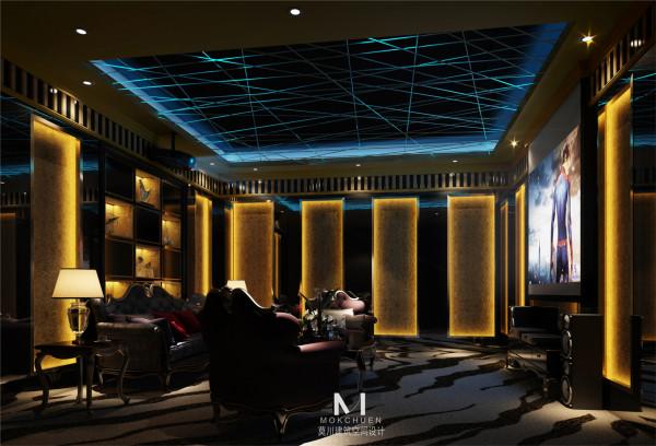 影视厅:星光斑斓的天花吊顶给予了座椅上的人儿一种处在大自然中的享受,宁静而不失愉悦。