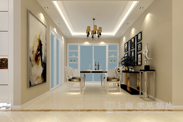 缤纷广场4室2厅现代装修案例166平样板间效果图——餐厅全景效果图