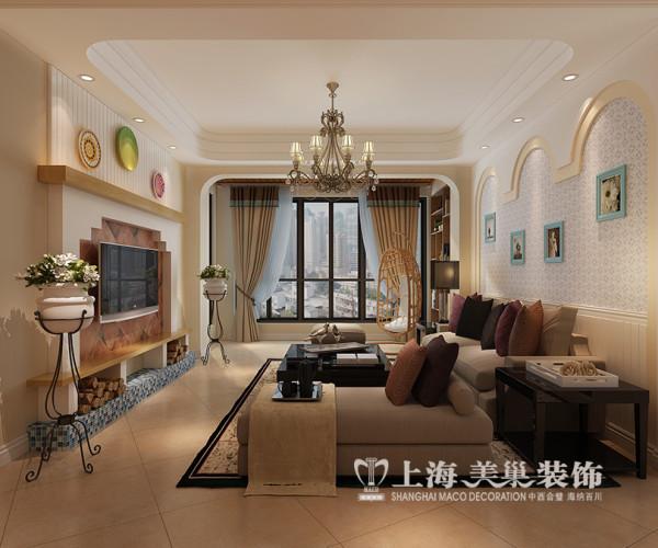 商丘华夏明珠装修效果图欧式田园风格混搭案例——客厅全景设计