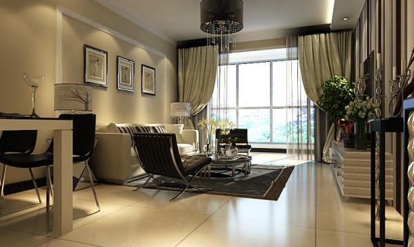 东胜紫御府三室两厅223平米户型餐厅位置、客厅位置整体角度设计效果展示
