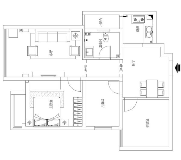 商丘上海都市花园81平三室两厅装修现代效果图——户型平面布局