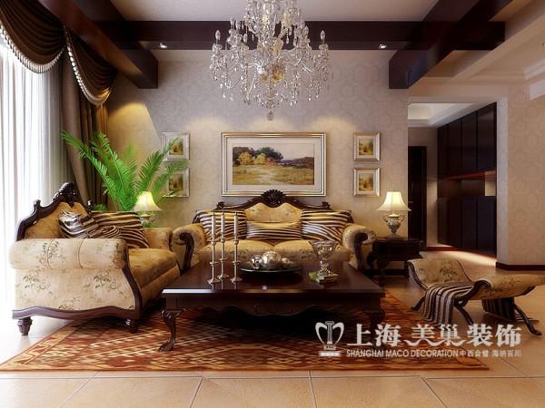 沙发布局效果图,以浪漫主义为基础,采用大理石、华丽多彩的织物、精美的地毯、多姿曲线的家具,让室内显出豪华、富丽的特点,充满强烈的动感效果。从而体现业主对品质和典雅生活的追求。