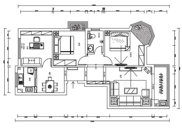兰溪谷装修案例平面户型图赏析——3室2厅户型120平居室设计