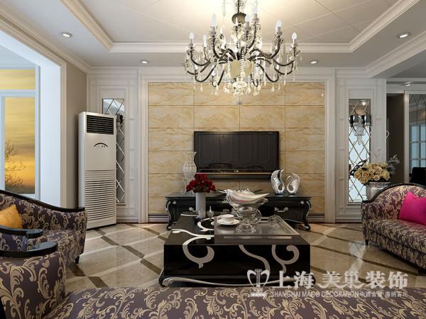 商丘上东一品127平三室两厅装修简欧效果图——电视墙设计