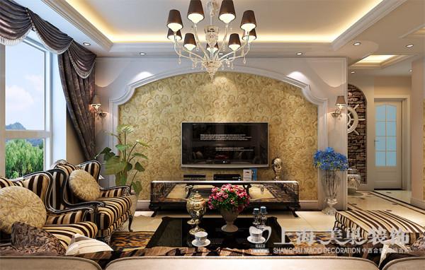 郑州风和日丽装修效果图简欧风格设计——四室两厅145平电视背景墙