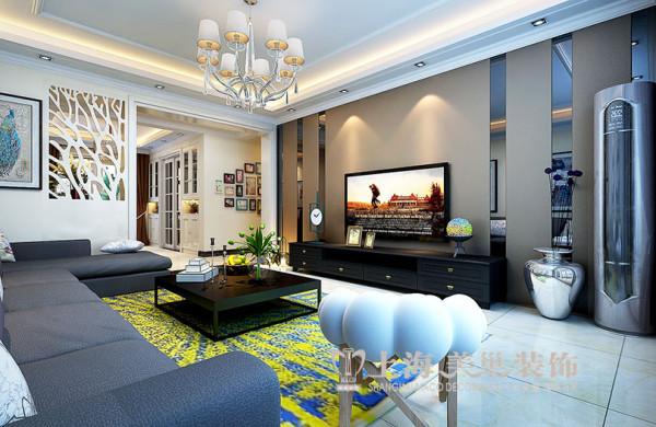 银河丹堤140平三室两厅装修新中式效果图——客厅全景布局