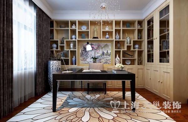 银河丹堤新中式装修三房两厅户型140平案例——书房效果图