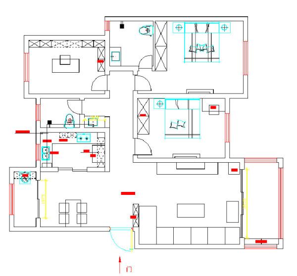 郑州银河丹堤140平三室两厅装修新中式案例——户型平面布局