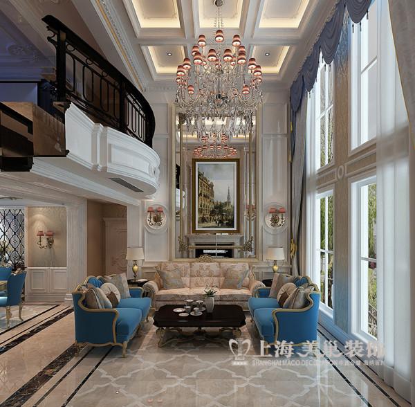 郑州正弘蓝堡湾装修效果图复式220平4室2厅居室户型布局——简欧风格设计客厅沙发背景墙效果图