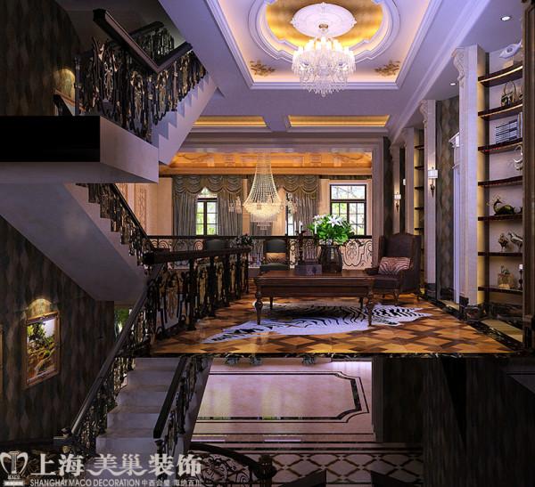 郑东别墅680平欧式效果图装修案例——楼层间布局