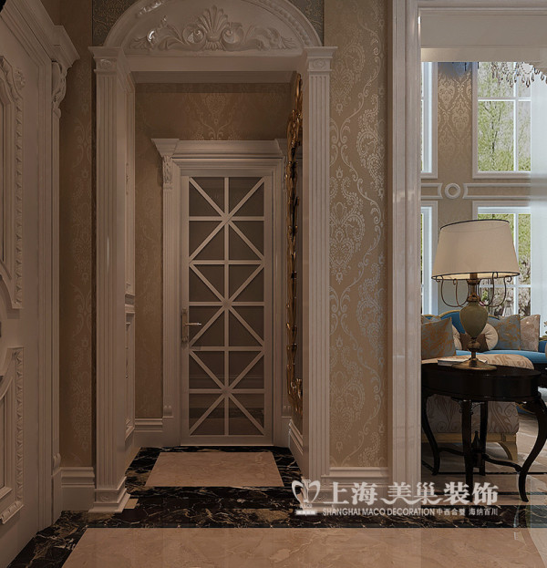 郑州正弘蓝堡湾装修简欧风格设计样板间效果图——玄关布置