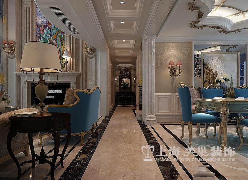 装修公司 客厅图片来自河南美巢装饰在蓝堡湾220平复式简欧装修效果图图片