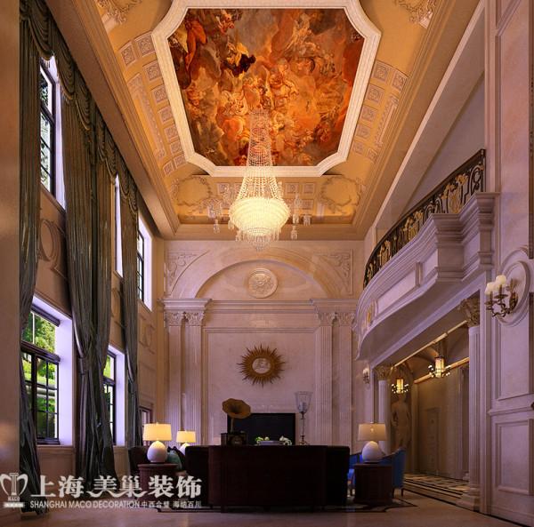 自建别墅680平欧式装修案例样板间奢华效果图——电视墙及吊顶