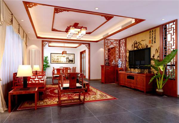 地面铺哑光暗黑色地砖,墙顶面硅藻泥饰面,电视背景墙实木雕花装饰角线,带有中式感觉的图案。