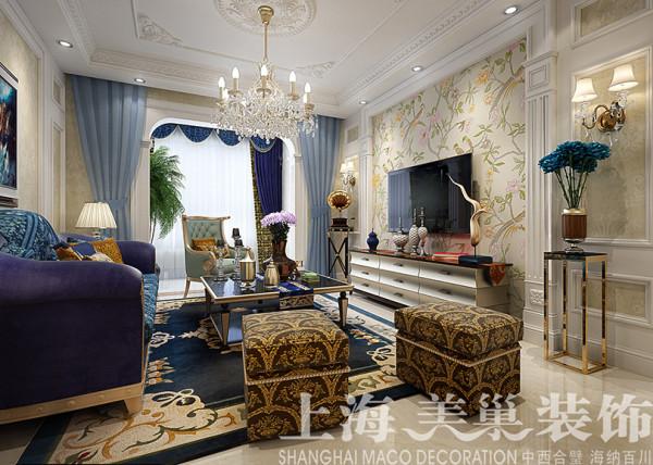郑州蓝堡湾二期装修简欧风格设计效果图——客厅样板间布局电视背景墙设计