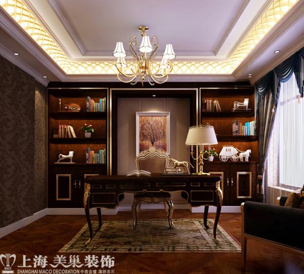 郑州别墅装修案例之680平欧式奢华样板间——书房效果图