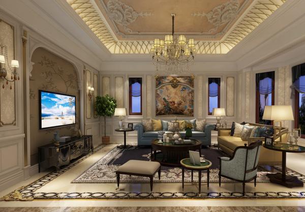 客厅秉持典型的法式风格搭配原则。精美的雕刻工艺,夺目的华丽色彩,构成室内庄重优雅的气氛。