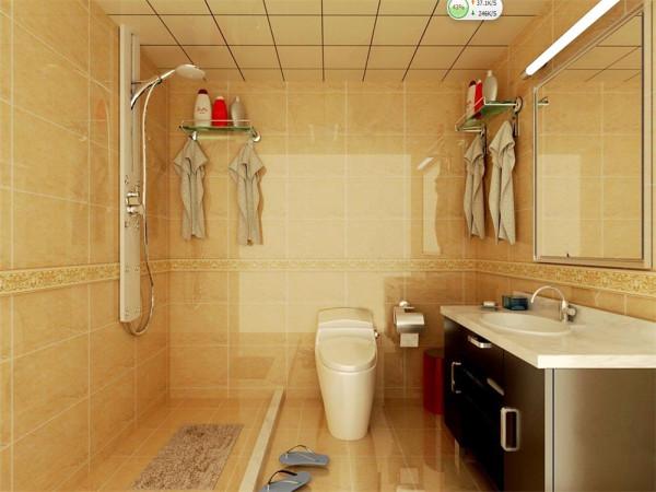 卫生间虽小,但也摆放协调、规整。黄色理石纹理的瓷砖、搭配浅灰色的洗脸台,配上 银色的镜子,让卫生间效果体现出稳重大气。