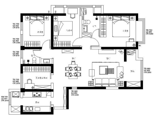 郑州贰号城邦120平三室两厅简美风格装修案例样板间——户型平面图
