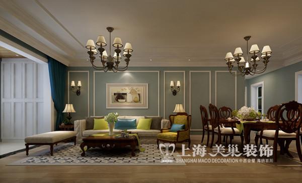 贰号城邦三居室装修120平简美装修效果图案例——客餐厅效果图