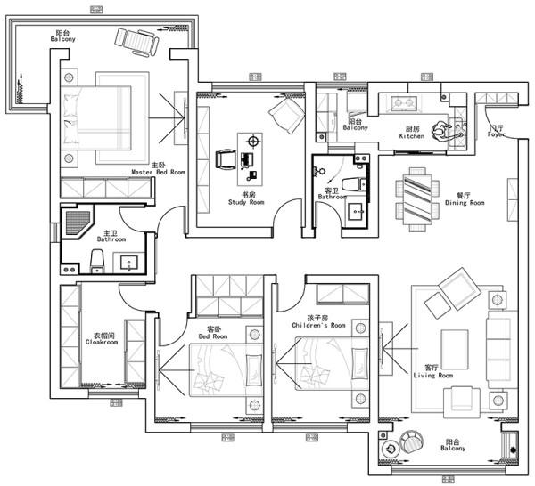 蓝天空港2号楼148平四室两厅装修新中式风格案例——户型平面布局