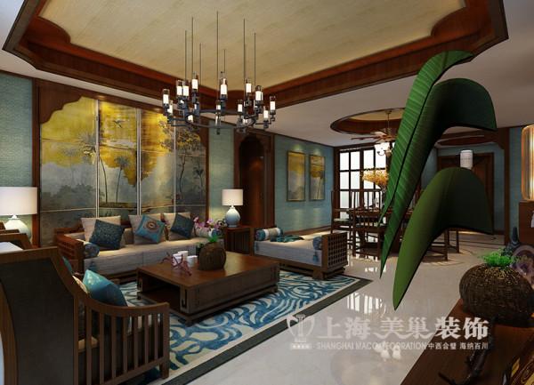 郑州永威翡翠城四室两厅装修效果图鉴赏——东南亚风格装修案例沙发背景墙设计