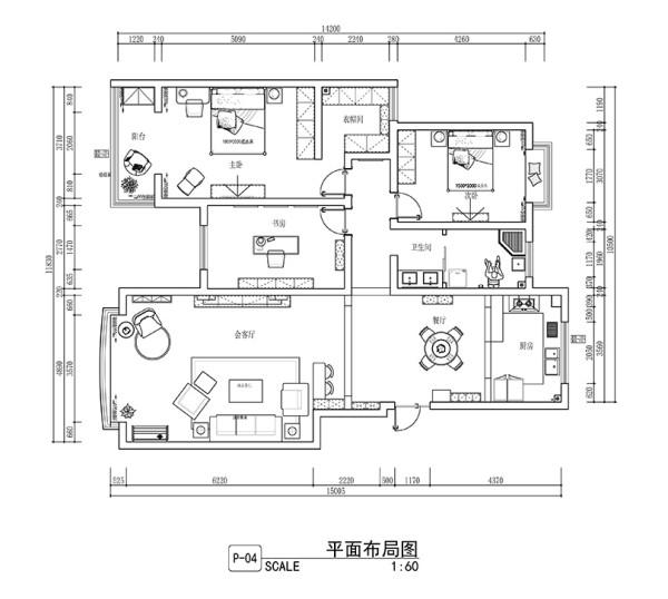 省电视台家属院装修案例三室两厅168平案例——平面户型布局图