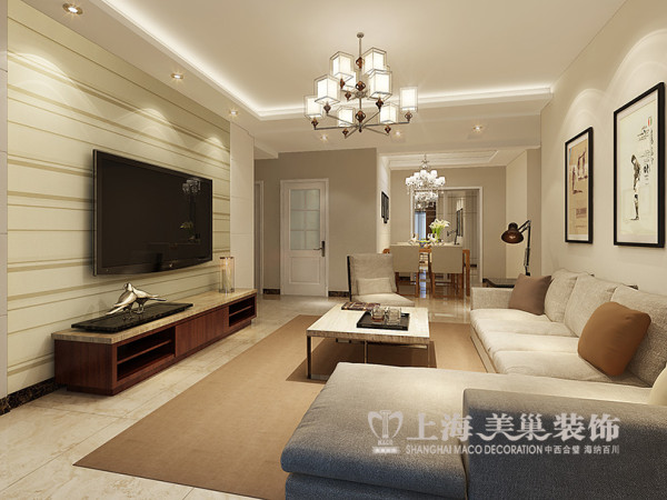 西雅图120平现代装修三室两厅效果图案例——客厅全景,电视背景墙是用了对称的形式,优雅大方。中间的横条壁纸让客厅更加流畅开敞