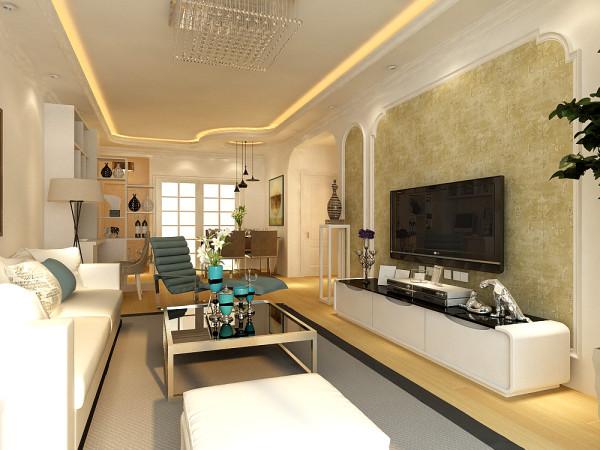 客厅不喜欢地砖,所以地面采用原木纹理的地板,棚面造型是简单的直线造型边棚,阳台及过道的垭口采用欧式弧形垭口,使整个设计上添加了新的元素。