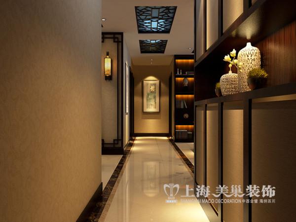 郑州天骄华庭装修三室两厅新中式风格设计效果图143平居室户型案例——走廊
