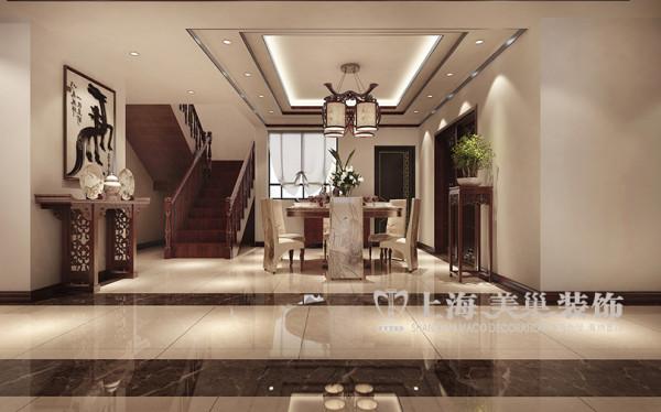 碧桂园复式241平居室布局效果图新中式风格设计案例——楼梯布局