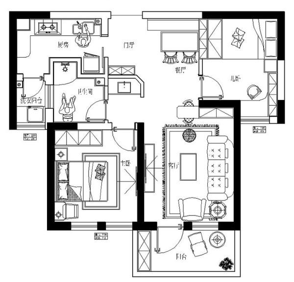 海马公园2号楼74平法式装修两室两厅样板间案例——户型平面布局
