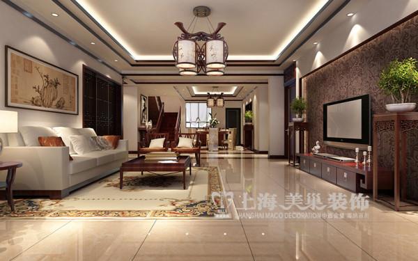 碧桂园新中式装修案例效果图241平居室设计——复式户型客餐厅布局