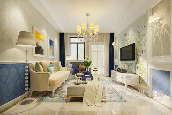 海马公园法式装修74平两室两厅样板间效果图——客厅全景,运用了精致的线条,柔和雅致的色调以及舒适的家具,使整个空间简洁大方,却不失浪漫典雅