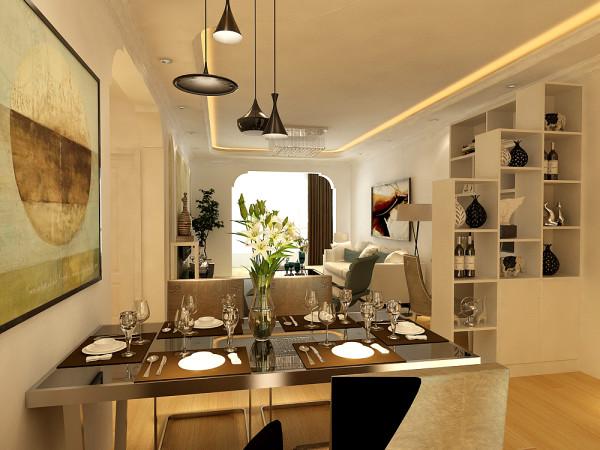 餐厅区域并没有刻意的做出与客厅区域划分的棚面造型,而是采用了与客厅棚面相结合的一个曲线造型棚,这样使得整体空间看起来即为一个整体,又有区域的划分,整个设计看起来更加鲜活,空间搭配起来更加合理。