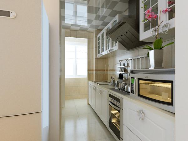 厨房采用暖色AB板相间的瓷砖,搭配白色橱柜,整体光线不会显得过于暗淡,解决了客户对厨房采光问题的需求。